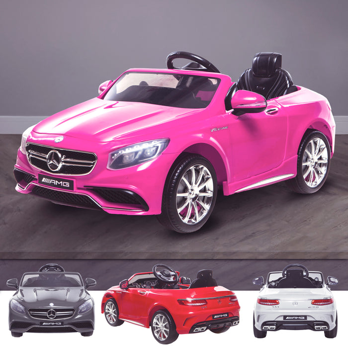 kids 12v electric mercedes s63 amg car licesend battery operated ride on car with parental remote control main pink 2wd painted grey