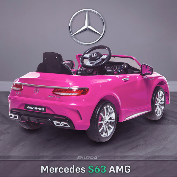 kids 12v electric mercedes s63 amg car licesend battery operated ride on car with parental remote control main rear angle 2 pink 2wd painted grey