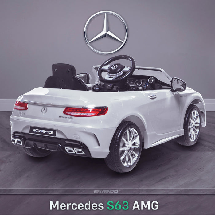 kids 12v electric mercedes s63 amg car licesend battery operated ride on car with parental remote control main rear angle 2 white 2wd painted grey