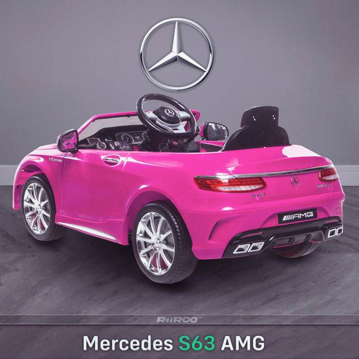 kids 12v electric mercedes s63 amg car licesend battery operated ride on car with parental remote control main rear angle pink 2wd white