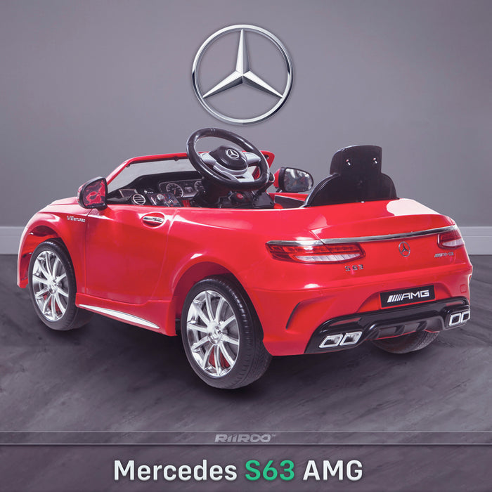 kids 12v electric mercedes s63 amg car licesend battery operated ride on car with parental remote control main rear angle red 2wd