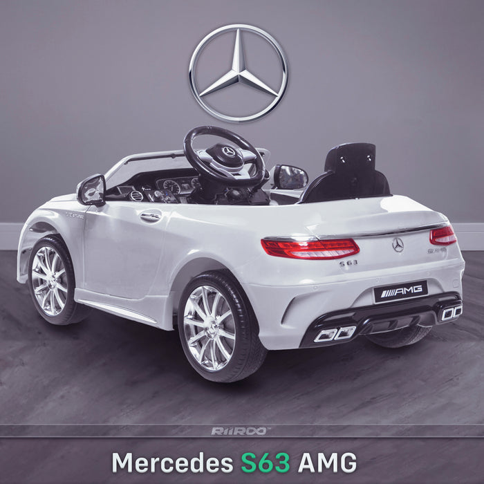 kids 12v electric mercedes s63 amg car licesend battery operated ride on car with parental remote control main rear angle white 2wd painted grey