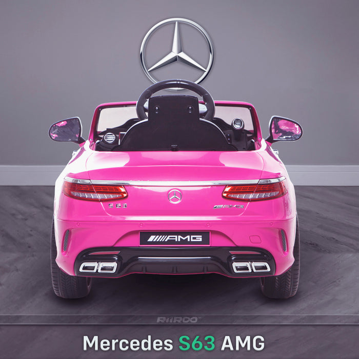 kids 12v electric mercedes s63 amg car licesend battery operated ride on car with parental remote control main rear pink 2wd painted grey