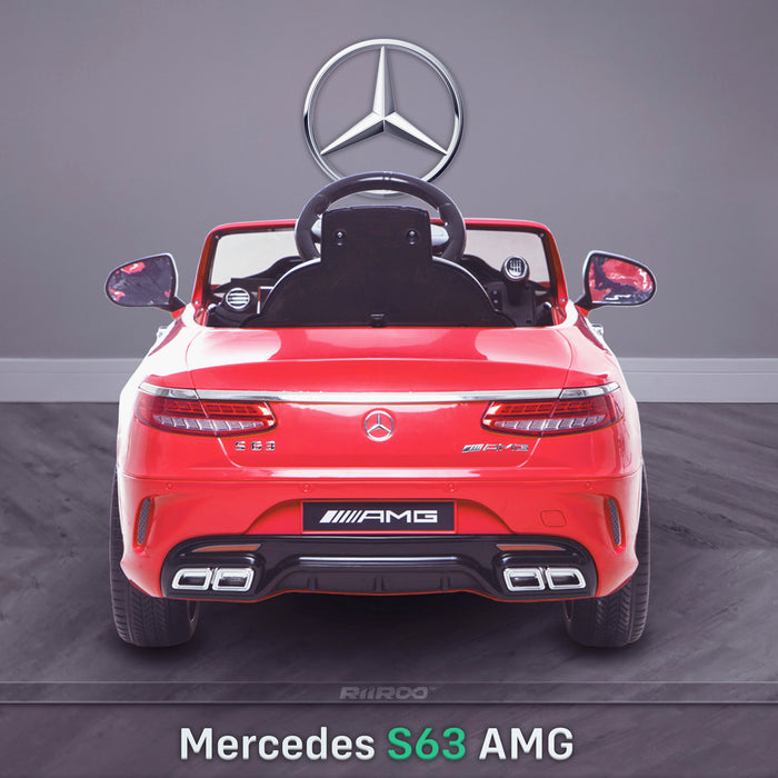 kids 12v electric mercedes s63 amg car licesend battery operated ride on car with parental remote control main rear red 2wd