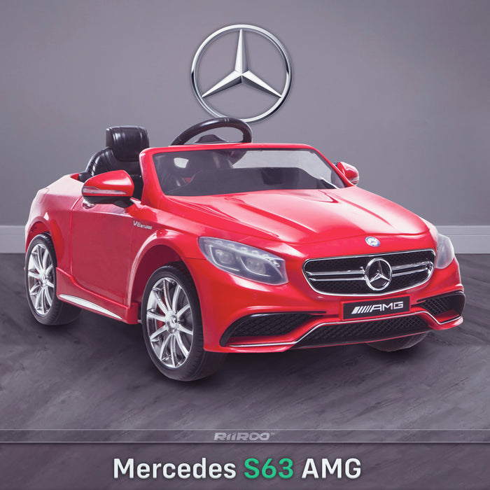 kids 12v electric mercedes s63 amg car licesend battery operated ride on car with parental remote control main red front angle 2wd painted grey