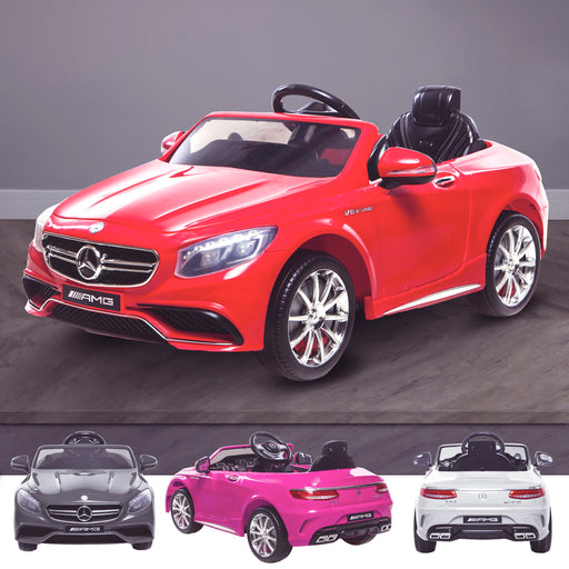 kids 12v electric mercedes s63 amg car licesend battery operated ride on car with parental remote control main red Red 2wd