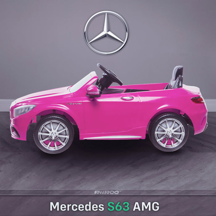 kids 12v electric mercedes s63 amg car licesend battery operated ride on car with parental remote control main side pink 2wd painted grey
