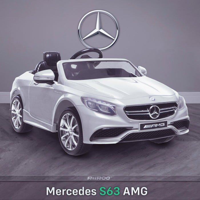 kids 12v electric mercedes s63 amg car licesend battery operated ride on car with parental remote control main white front angle 2wd painted grey