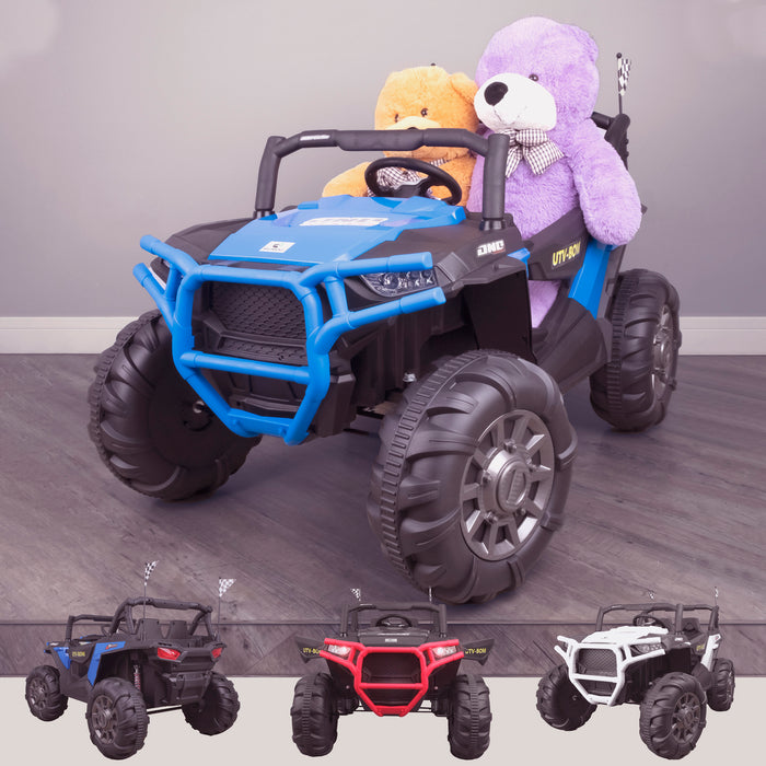 kids 12v maxpow 2s utv mx electric ride on utv car quad with parental control bluetooth blue Blue riiroo buggy 2wd