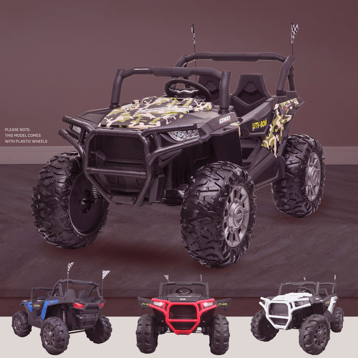 kids 12v maxpow 2s utv mx electric ride on utv car quad with parental control bluetooth camo Camo riiroo buggy 2wd
