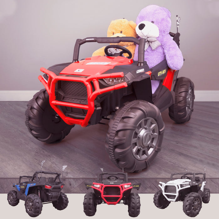 kids 12v maxpow 2s utv mx electric ride on utv car quad with parental control bluetooth red Red riiroo buggy 2wd