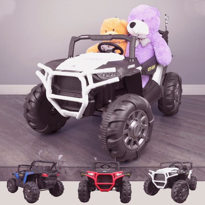 kids 12v maxpow 2s utv mx electric ride on utv car quad with parental control bluetooth white White riiroo buggy 2wd