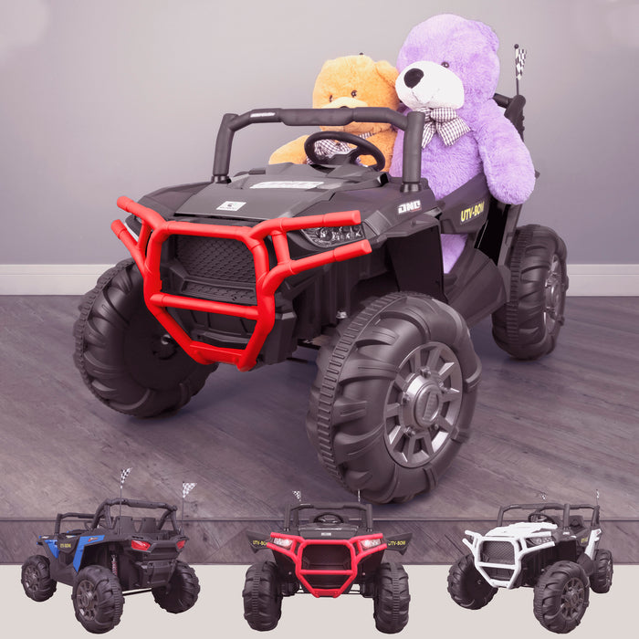 kids 12v maxpow 2s utv mx electric ride on utv car quad with parental control bluetooth Black riiroo buggy 2wd