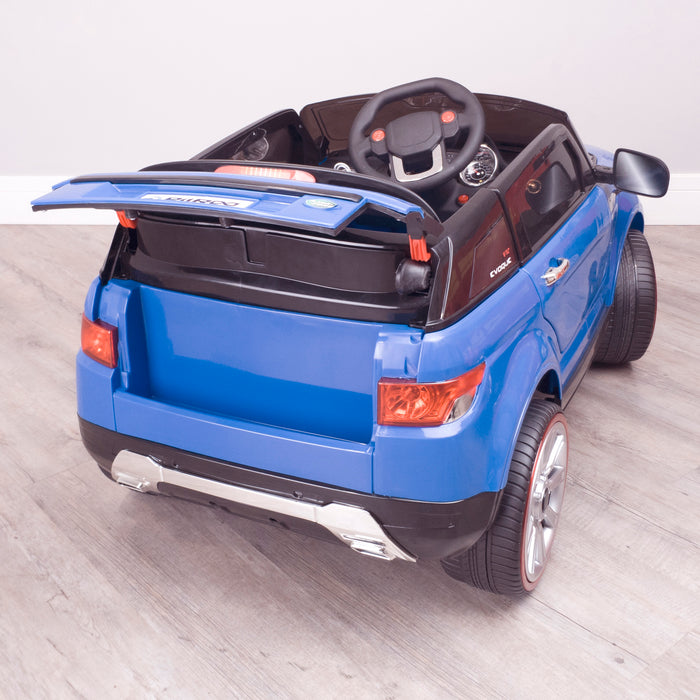 kids 12v range rover evoque style electric battery ride on car with parental remote control working boot functioning blue rear boot open 2wd