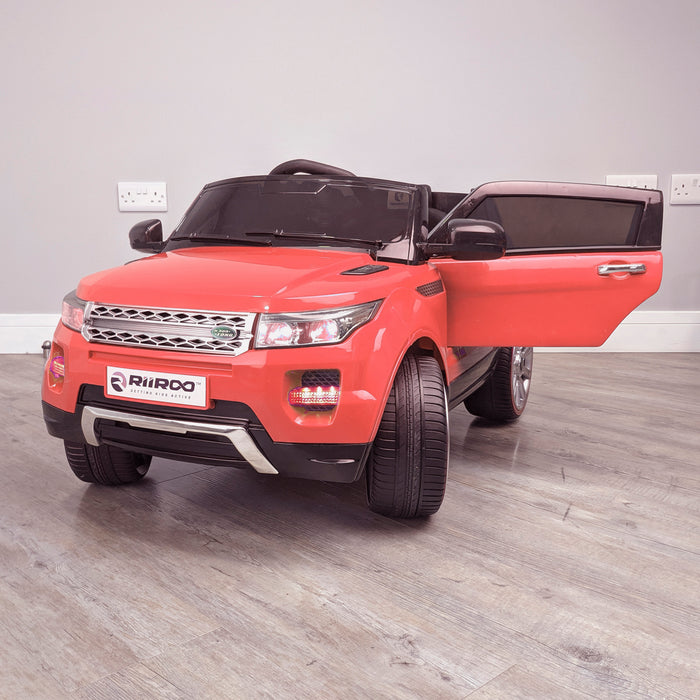kids 12v range rover evoque style electric battery ride on car with parental remote control working boot functioning front perpective view door open red 2wd blue