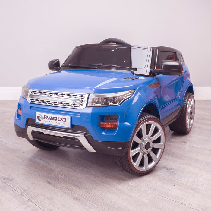 kids 12v range rover evoque style electric battery ride on car with parental remote control working boot functioning front perspective blue 2wd