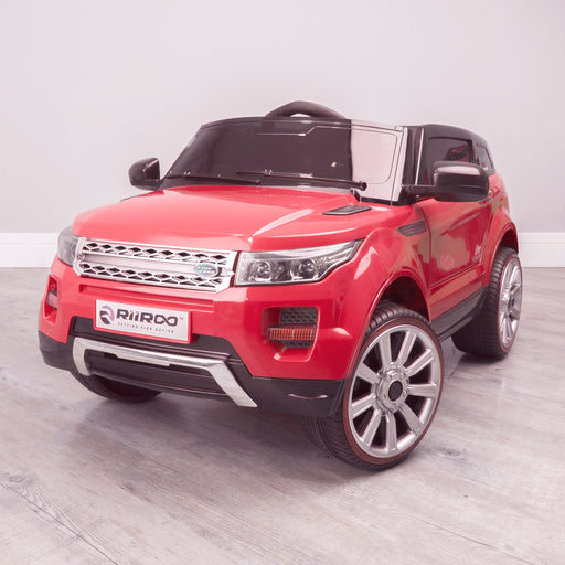 kids 12v range rover evoque style electric battery ride on car with parental remote control working boot functioning front perspective red 2wd
