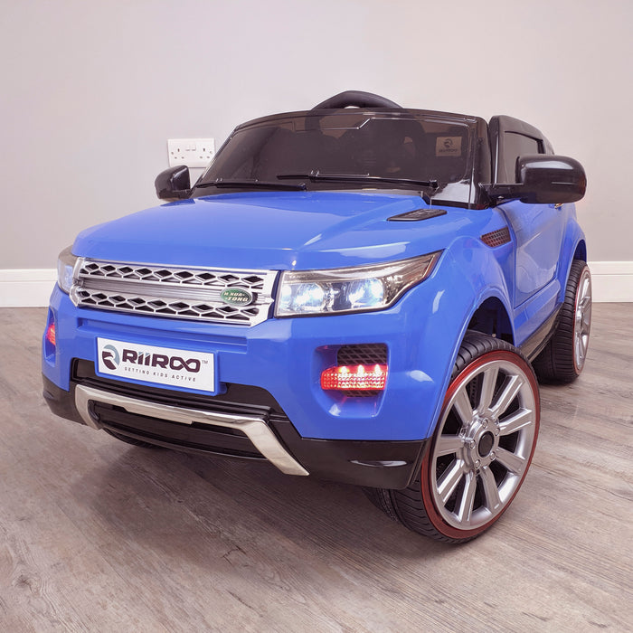 kids 12v range rover evoque style electric battery ride on car with parental remote control working boot functioning front perspective view blue 2wd