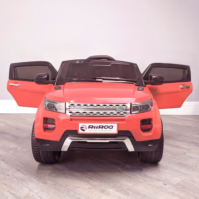 kids 12v range rover evoque style electric battery ride on car with parental remote control working boot functioning red front 2wd
