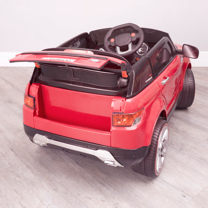 kids 12v range rover evoque style electric battery ride on car with parental remote control working boot functioning red rear boot open 2wd