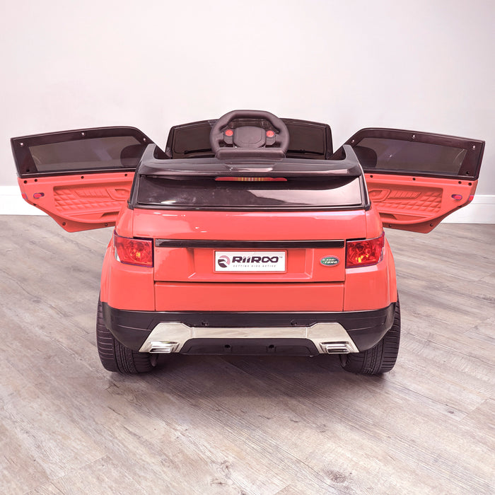 kids 12v range rover evoque style electric battery ride on car with parental remote control working boot functioning red rear 2wd