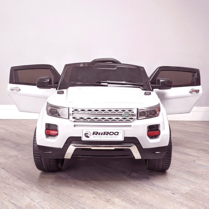 kids 12v range rover evoque style electric battery ride on car with parental remote control working boot functioning white front 2wd
