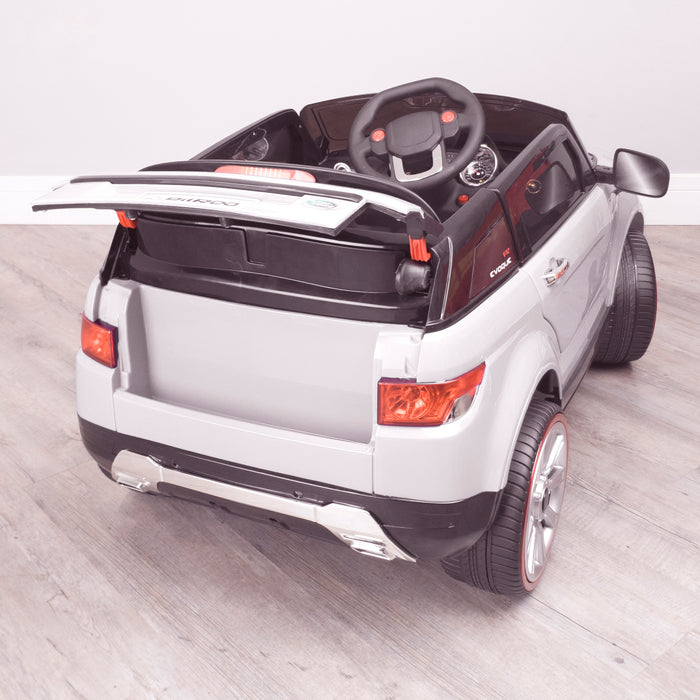 kids 12v range rover evoque style electric battery ride on car with parental remote control working boot functioning white rear boot open 2wd