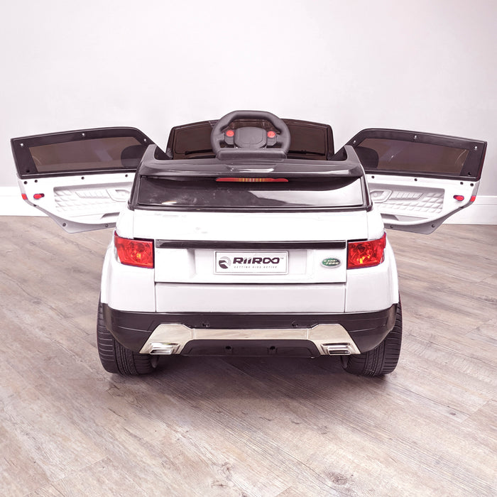 kids 12v range rover evoque style electric battery ride on car with parental remote control working boot functioning white rear 2wd