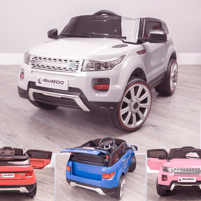kids 12v range rover evoque style electric battery ride on car with parental remote control working boot functioning white 2wd white