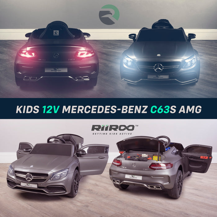 kids 12v mercedes benz c63s amg electric ride on car lights mix2 riiroo licensed c63 battery remote music