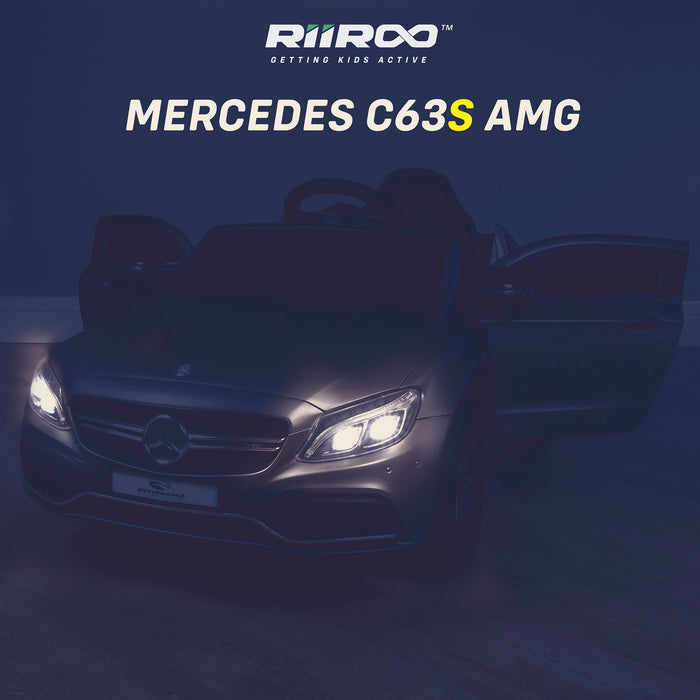 kids 12v mercedes benz c63s amg electric ride on car lights riiroo licensed c63 battery remote music