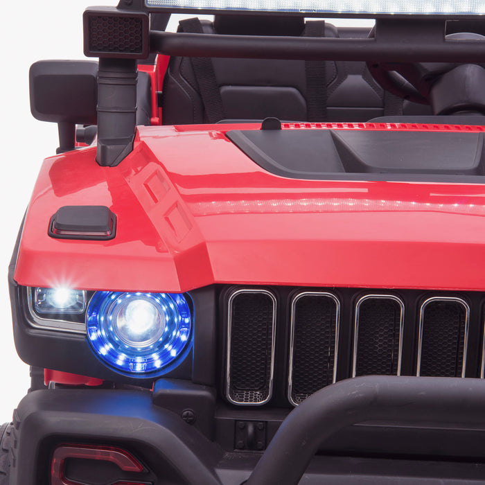 kids 24v hummer style ride on car jeep with parental remote control two seater front lights 2 4wd