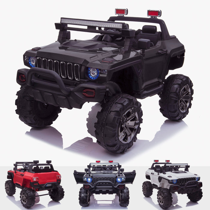 kids 24v hummer style ride on car jeep with parental remote control two seater main black Black 2 4wd