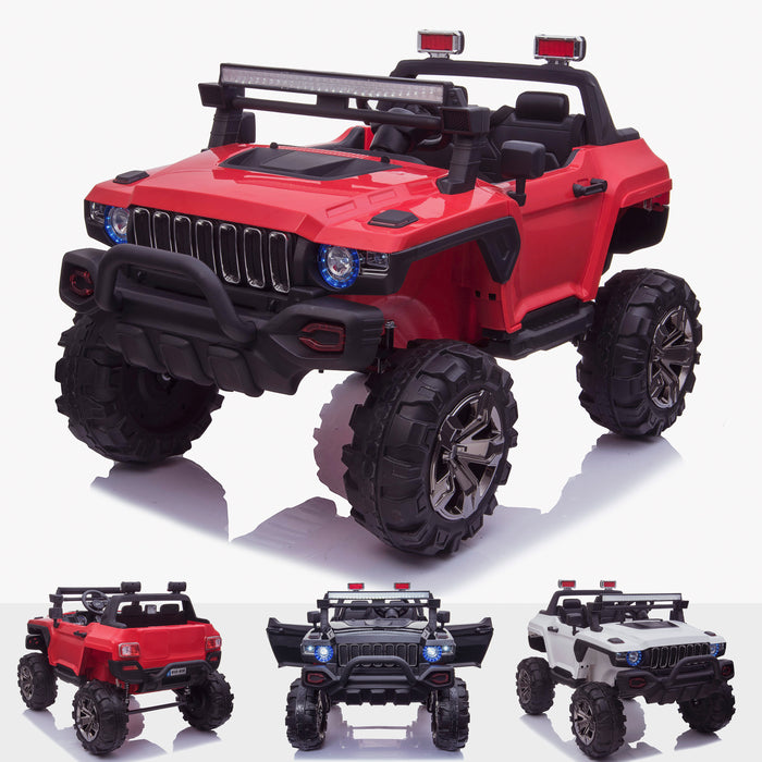 kids 24v hummer style ride on car jeep with parental remote control two seater main red panther sv 2 4wd red