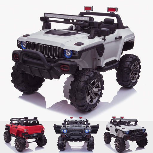 kids 24v hummer style ride on car jeep with parental remote control two seater main white panther sv 2 4wd white