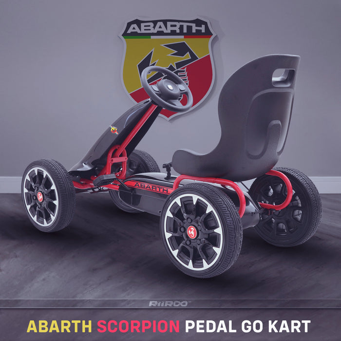 kids abarth ride on pedal go kart pedal powered ride on black 1 licensed scorpion