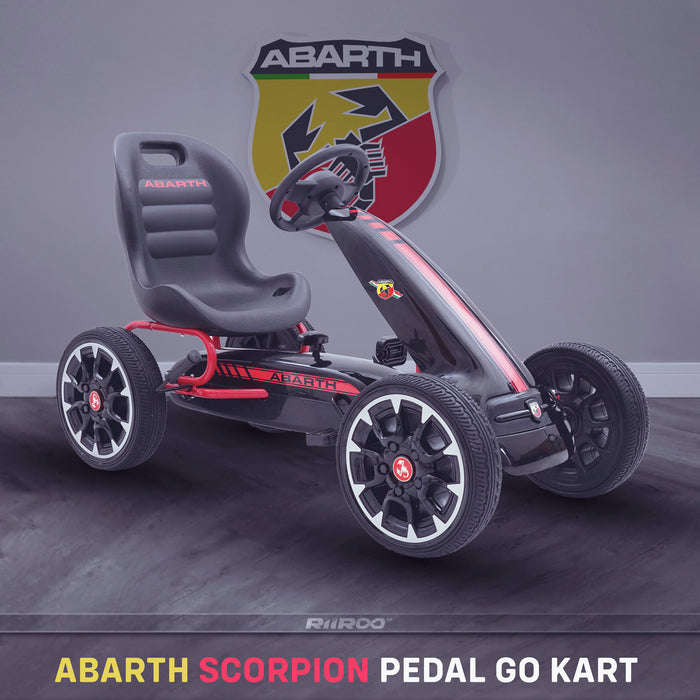 kids abarth ride on pedal go kart pedal powered ride on black 2 licensed scorpion red