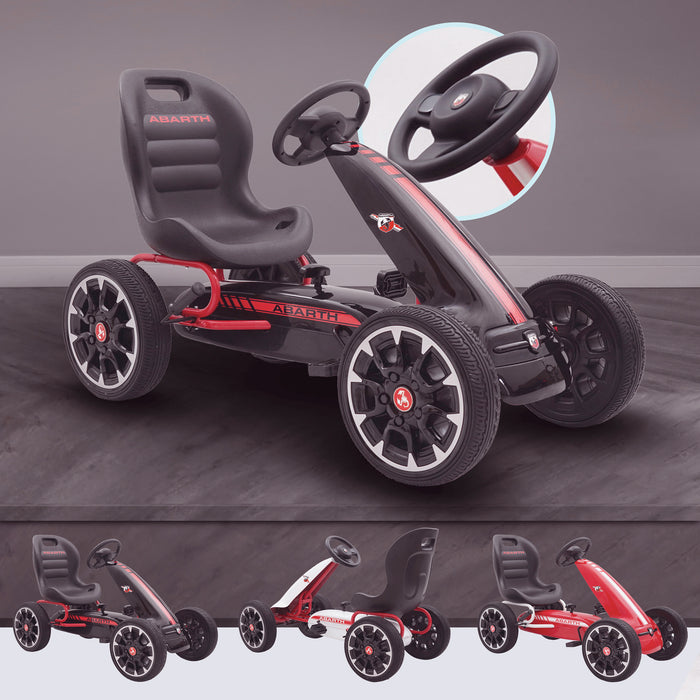 kids abarth ride on pedal go kart pedal powered ride on black licensed scorpion red