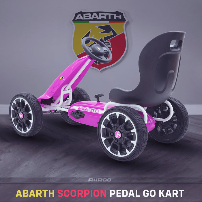 kids abarth ride on pedal go kart pedal powered ride on pink 1 scorpion