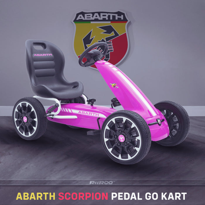 kids abarth ride on pedal go kart pedal powered ride on pink 2 licensed scorpion black