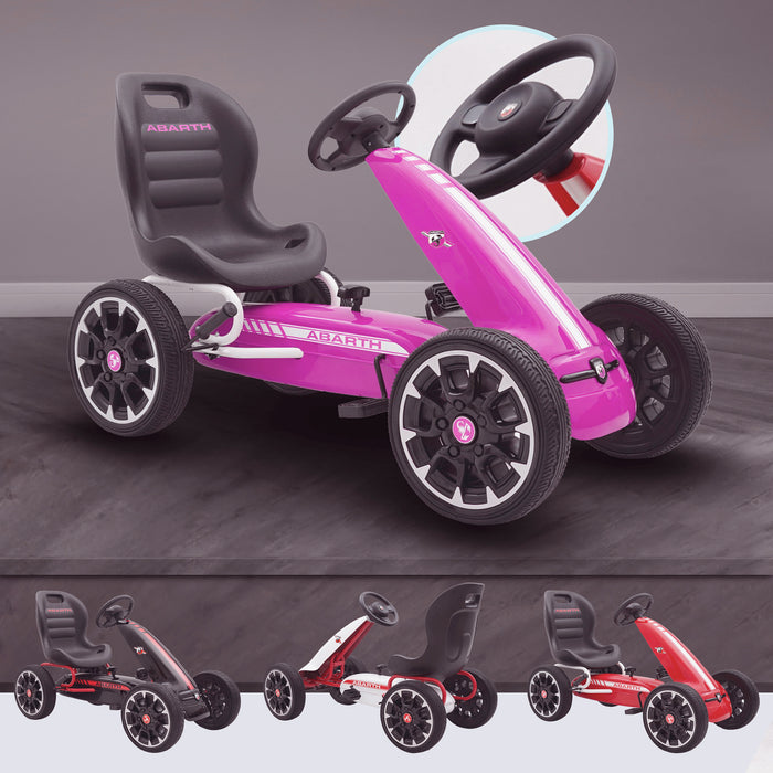 kids abarth ride on pedal go kart pedal powered ride on pink licensed scorpion red