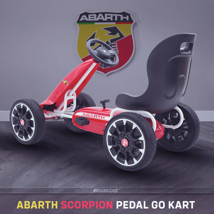 kids abarth ride on pedal go kart pedal powered ride on red 1 licensed scorpion