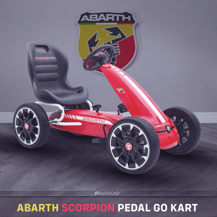 kids abarth ride on pedal go kart pedal powered ride on red 2 licensed scorpion pink
