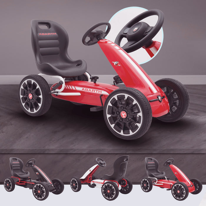 kids abarth ride on pedal go kart pedal powered ride on red licensed scorpion red