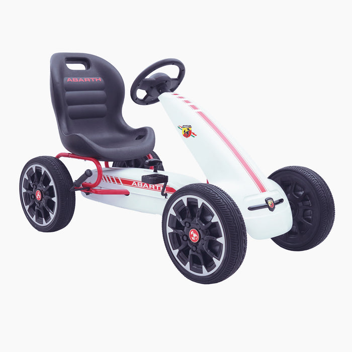 kids abarth ride on pedal go kart pedal powered ride on white 4 licensed scorpion