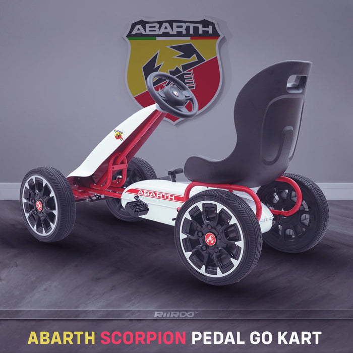 kids abarth ride on pedal go kart pedal powered ride on white 1 licensed scorpion red