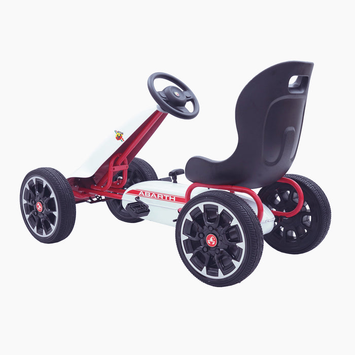 kids abarth ride on pedal go kart pedal powered ride on white 5 licensed scorpion red