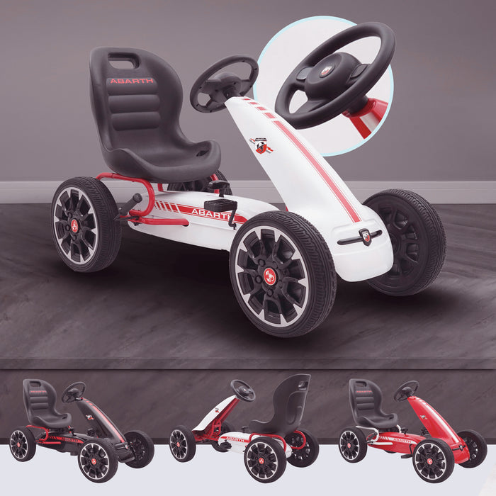 kids abarth ride on pedal go kart pedal powered ride on white licensed scorpion red