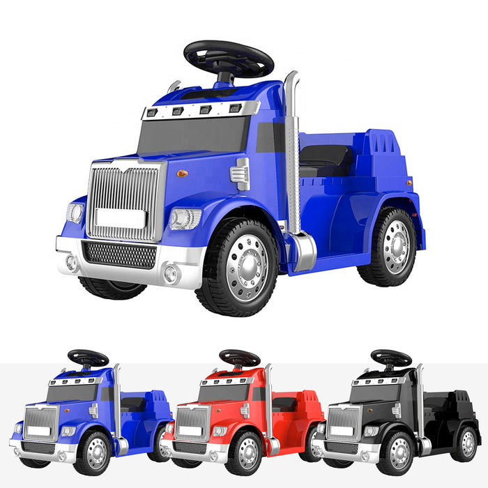 kids american truck electric ride on truck with usb port blue Blue 6v