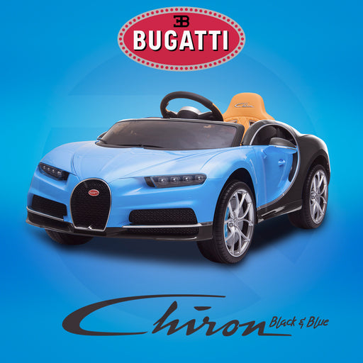 kids bugatti chiron licensed electric ride on car black blue 12v